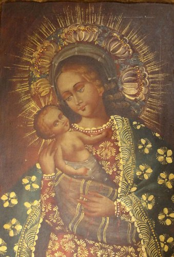 MADONNA & CHILD - Virgin Mary and Jesus - Our Lady - Cuzco Oil Painting 15x23