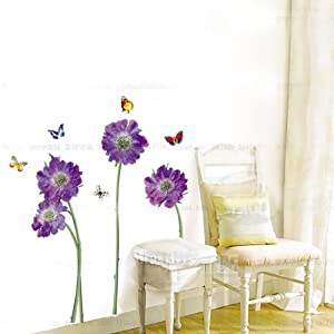 purple flower butterfly removable quote vinyl room wall decals stickers LD610 by Bonamart