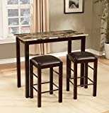 Roundhill Furniture Brando 3-Piece Counter Height Breakfast Set, Espresso Finish