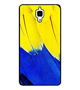 Fuson Premium Blue And Yellow Metal Printed with Hard Plastic Back Case Cover for Xiaomi Mi 4