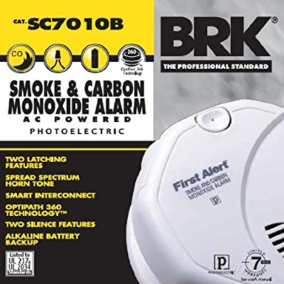 First Alert SC7010B Hardwire Photoelectric Smoke and Carbon Monoxide Alarm with Battery Backup Size: 1 Pack Model: SC7010B from First Alert