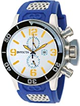 Invicta Corduba GMT Silver Dial Stainless Steel Blue Rubber Mens Watch 80207