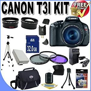 Canon EOS Rebel T3i 18 MP CMOS Digital SLR Camera and DIGIC 4 Imaging with EF-S 18-55mm f/3.5-5.6 IS Lens +58mm 2x Telephoto lens + 58mm Wide Angle Lens (3 Lens Kit!!!!!!) W/32GB SDHC Memory+ Extra Battery/Charger + 3 Piece Filter Kit + Full Size Tripod + Case +Accessory Kit !