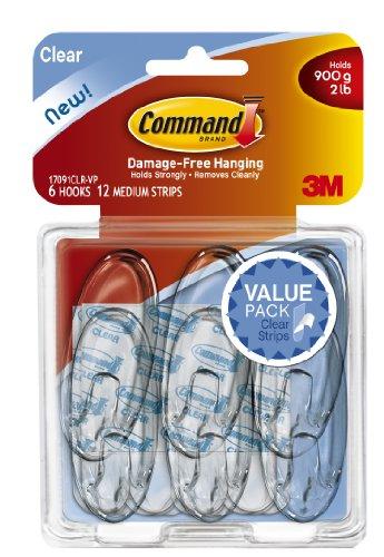 Command Medium Hooks, Clear, 6-Hook