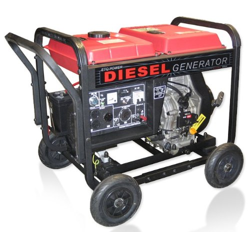 Cheap ETQ DG4LE 4,900 Watt 8 HP 296cc Diesel Powered Portable Generator With Electric Start (EASDG4LE)