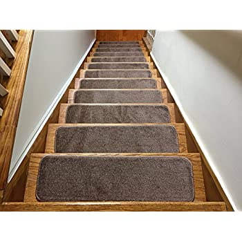 Euro Collection Stair Treads Collection Indoor Skid Slip Resistant Carpet Stair Tread 8 ½ inch x 30 inch (Set of 13, Cappuccino Brown)