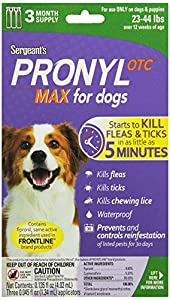 Sergeant's Pronyl OTC Max Dog Flea and Tick Sqz-On Flea Drops 23 to 44-Pound, 3 Count