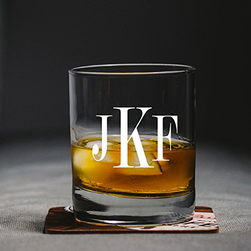 Monogram Scotch Glass, Groomsman Gift, Monogram Whiskey Glass, Etched Rock Glass, Personalized Scotch Glass, Etched Glass , Bourbon Glass (8 oz.) (Personalized Rocks Glasses compare prices)
