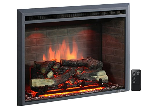 PuraFlame Western 33 inch Embedded Electric Firebox Heater With Secluded Control, Black
