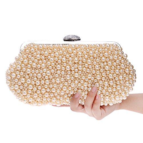 Moda cuscino a forma di borsa banchetto borsa a mano perla squisita delle donne (26 * 14cm) , yellow