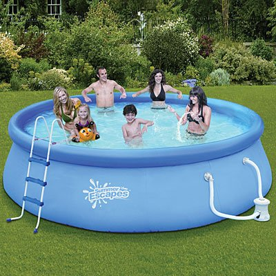 Summer escapes above ground family swimming pool 14 39 x 36 for Above ground pools quick set