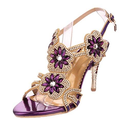 Littleboutique Women'S Glitter Strappy Slingback?Sandal Rosette Floral Dress Sandals Evening High Heels Wedding Heels Grape 7
