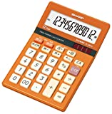 SHARP ミニナイスサイズ電卓 マルチ換算・早打ち・サイレントキー搭載 トパーズオレンジ 12桁 EL-M812-DX