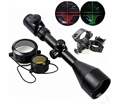 X-Aegis Tactical 3-9x56 Red & Green Mil-dot Illuminated Optics Sight Hunting Air Rifle Scope with 2 Mounts & Lens Cover + Free Mounts from X-Aegis