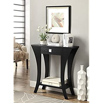 Black Finish Console Sofa Entry Table with Drawer by eHomeProducts