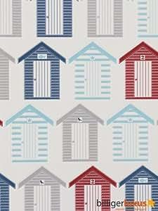 papier peint cuisine et salle de bain cabine de plage bleu rouge et blanc 52cm x 10 05m amazon. Black Bedroom Furniture Sets. Home Design Ideas