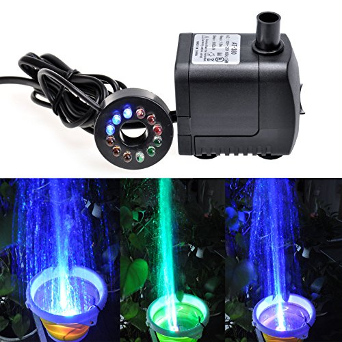 GBGS 15W 800L/h 12 Colored LEDs Light Submersible Fountain Fish Aquarium Water Pump (15W 800L/H 0.6m)