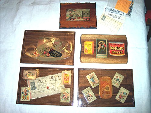 Framed Coffee Memorabilia Mounted On Walnut Boards, Circa 1890'S