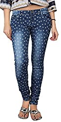 Carrel Bring In Heart Print Stretchable Denim Jeans Rich Blue Colour For Womens