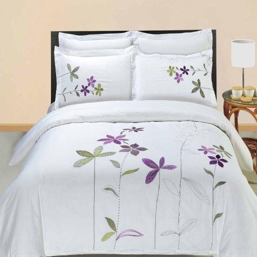 Egyptian Bedding South Garden Embroidered 3 Piece California King Size Duvet Set, 100% EGYPTIAN COTTON