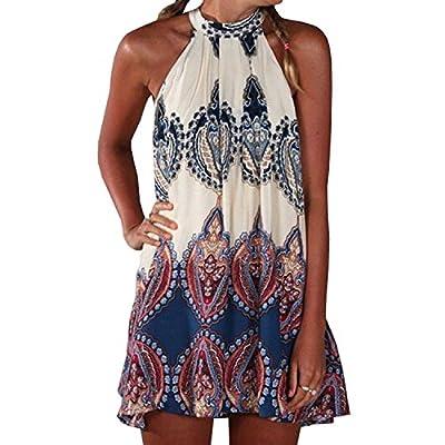 SUNNOW® NEU Damen Sommerkleid Strandkleid Sexy beiläufig loses Blumen gedruckt ärmellos modisch Minikleid Frauen Partykleid Abendkleid