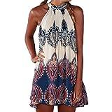SUNNOW® NEU Damen Kleider Miniklei Sexy Partykleid modisch beiläufig loses Blumen gedruckt ärmellos Frauen Sommerkleid, Gr. EU 42 / XL