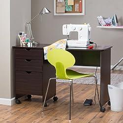 Beldin Mobile Sewing Desk - Espresso by Linon Home Decor Products Inc
