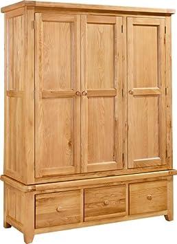 Devon Oak Triple Wardrobe with 3 Drawers (DEV-10)