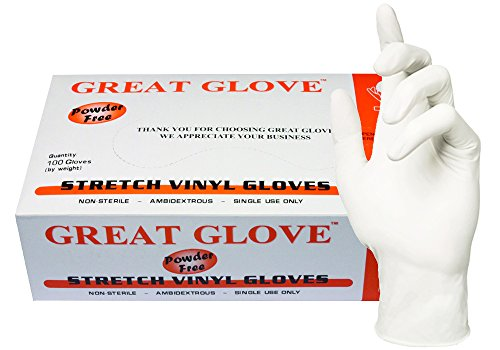 GREAT GLOVE NMSTV70010-M-BX Stretch Vinyl Food Service Grade Multi-Purpose Gloves, 4 mil, Powder-Free, Smooth, Latex-Free, DINP & DEHP Free, Synthetic, General Purpose (Food Service Gloves Latex Free compare prices)