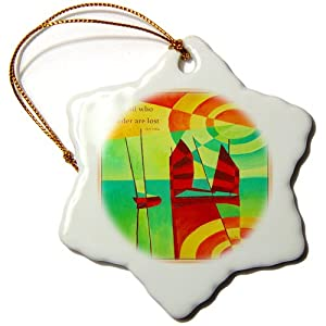 3dRose orn_63130_1 Not All Who Wander are Lost-quote, proverb, inspirational, Snowflake Ornament, Porcelain, 3-Inch