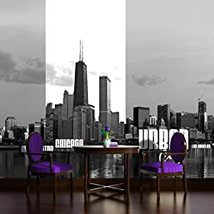 Chicago urban cities skyline wallpaper mural for Chicago skyline mural wallpaper
