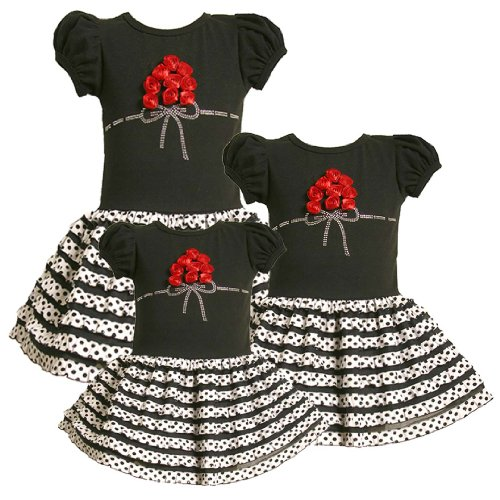 Bonnie Jean Baby/Infant 12M-24M BLACK WHITE RED TIERED RUFFLE DOT BOUQUET Special Occasion Wedding Flower Girl Party Dress-24M BNJ-3470B-B13470