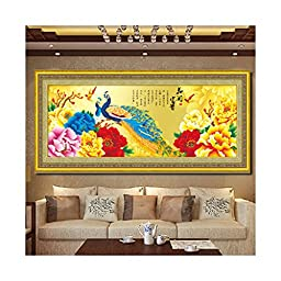Diamond Painting Fortune Comes with Blooming Flowers Peacock Living Room Diamond Stitch Diamond Paste Cross Stitch Three-dimensioanl Diamond
