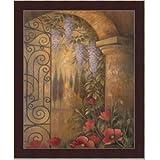 Wisteria Garden Tuscan Landscape Ii Art Print Framed