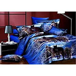 Queen Size Wolf Bedding Sets,3D Oil Painting Wolf Duvet Cover