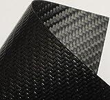 カーボン(炭素繊維)PUコーティングシート生地 0.55mm厚 3K綾織り・両面PU樹脂コーティング 500 x 600mmサイズ 【1枚】