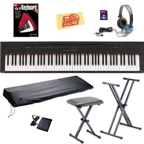 Yamaha P105B 88-Key Digital Piano Bundle with Bench, Stand, Dust Cover, 8GB SD Card, Sustain Pedal, Headphones, Instructional Book, and Polishing Cloth