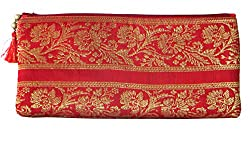 Needlecrest Women Silk Saree Clutch, Mobile Pouch Ladies Purse (Red Color)