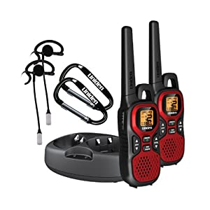 Uniden Gmr 3040-2ckhs 30 Mile 22 Channel FRS/gmrs Two-way Radios With Charging Kit Noaa Weather 2 Vox Headsets And 2 Carabiners Pair Red