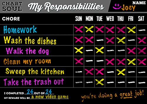 Chart and Soul Chalkboard Chore Chart Decal with Rewards - 16 inches x 12 inches Vinyl with Responsibilities Wall Calendar for Home, Kitchen and Classroom - Erasable Schedule for Children, Kids, Teens (Child Discipline Chart compare prices)