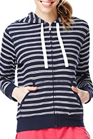 Pure Cotton Striped Zip Through Tracksuit Sweat Top [T51-0760-S]