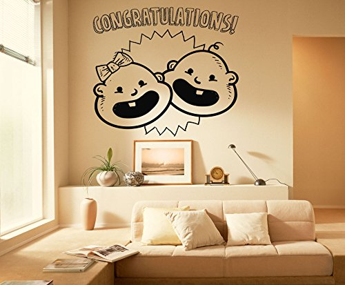 Congratulations Kids Wall Decal Decor Vinyl Sticker Wall Decor Removable Waterproof Decal (569x)
