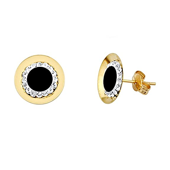 18k gold earrings onyx round cubic zirconia center [AA5628]