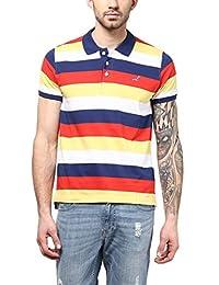 American Crew Men's Polo Collar Stripes T-Shirt (Yellow, White, Navy Blue & Red)