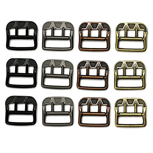 Set of 12 Antique Style Metal Buckles, 4 Color Mix