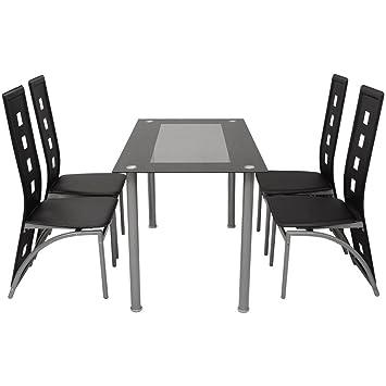 Set Esszimmer 1Tisch + 4Stuhle schwarz Möbel Wohnzimmer