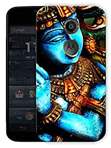 "Krishna Moorti Abstract - Indian Hindu God Printed Designer Mobile Back Cover For ""Motorola Moto X2"" By Humor Gang (3D, Matte Finish, Premium Quality, Protective Snap On Slim Hard Phone Case, Multi Color)"