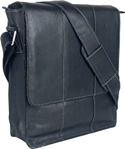 Unicorn Real Leather Black Ipad Ebook Or Tablets Messenger Bag 4e