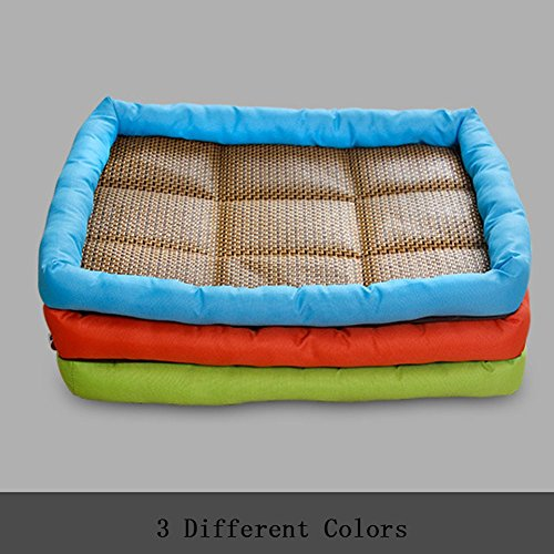 Loghot Cool Pet Kennel Mat Summer Breathable Heat-Resisting Dog Cat Bed Cushion with Rattan Seats (Blue, Small)