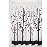 "InterDesign Stall Forest Shower Curtain, 54 x 78"", Gray/Black"